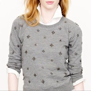 J. Crew Beaded Embellished Crew Neck Sweatshirt